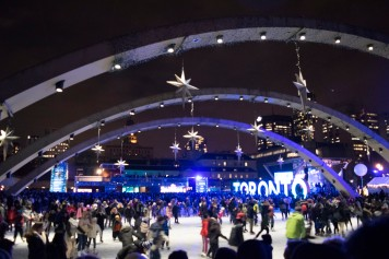 The rink at Nathan Philips Square was filled with skaters for its opening during the annual tree lighting ceremony on Saturday