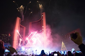 Fireworks fill the sky over Nathan Philips Square on Nov. 26 for the Cavalcade of Lights.